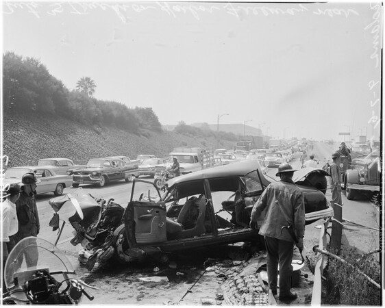 Auto versus truck -- Harbor Freeway at Adams, 1961