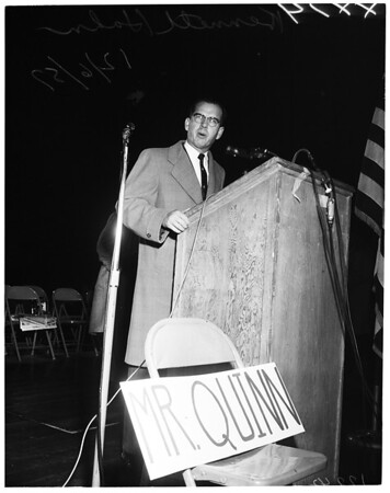 Taxpayers rally in Coliseum, 1957