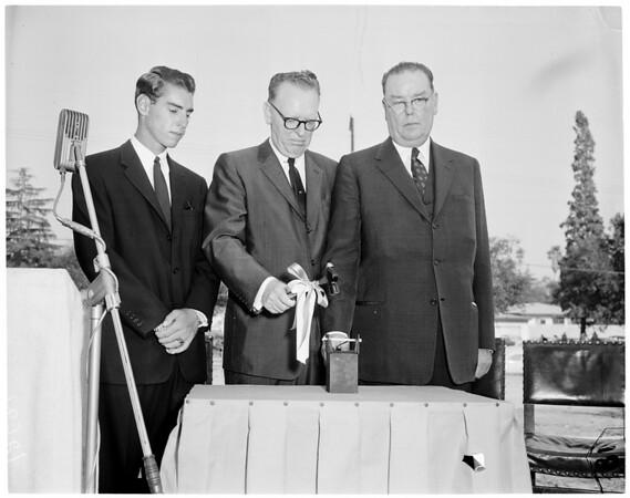 Caltech groundbreaking -- Keck Engineering Building, 1959
