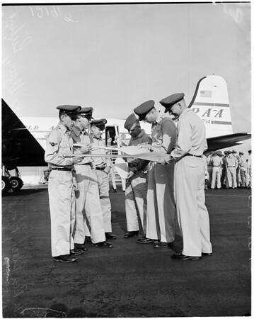 Air National Guardsmen leave via Pan American Airways (PAA) for Boise Camp, 1957