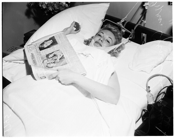Mrs. Cornelius Vanderbilt Junior (injured when husband struck her), 1952