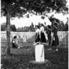 Girl scouts decorate graves at Sawtelle, 1958