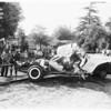 Arcadia bus crash (San Gabriel mission bus crushed 3 cars on Santa Anita Avenue) killed one, 1959