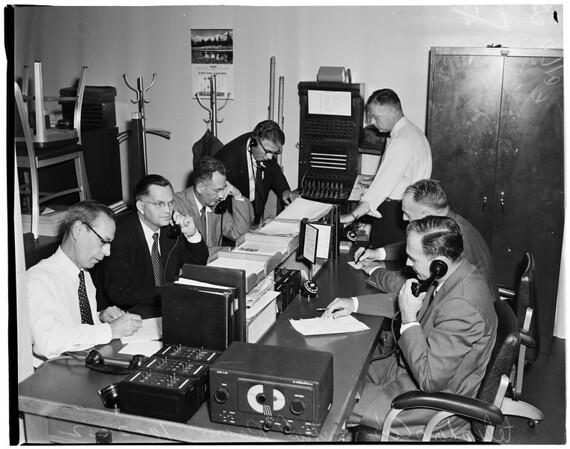 Pacific telephone and telegraph during air raid drill, 1952