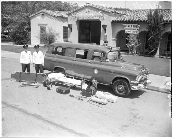 New Fire Department rescue ambulance for Valley, 1957