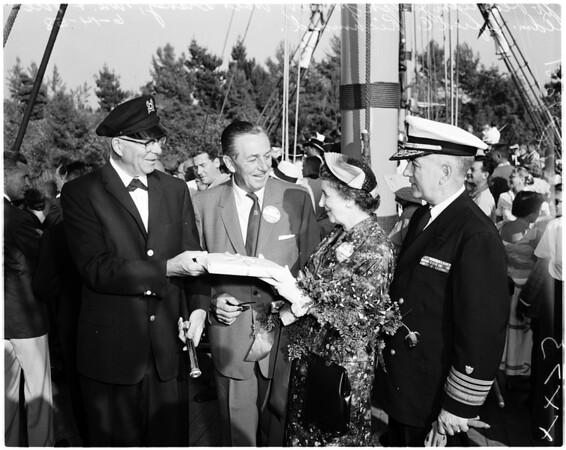 """New ship """"Columbia"""" dedication at Disneyland, 1958"""
