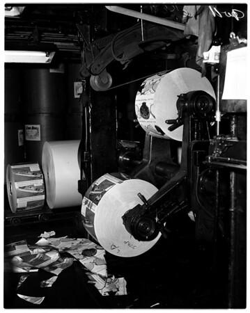 Los Angeles Examiner press room (color advertisement), 1958