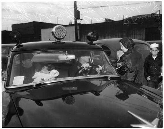 Baby locked in car, 1952