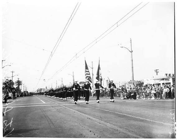Veterans' Day parade in Long Beach, 1957