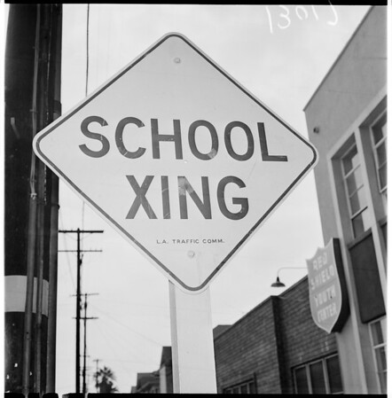 Los Angeles street sign, 1961