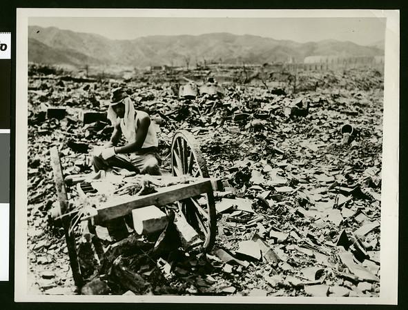 Seeking salvage in Nagasaki rubble, 1945