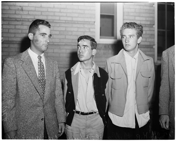 Juvenile auto chase suspects (77th street Police Station), 1952