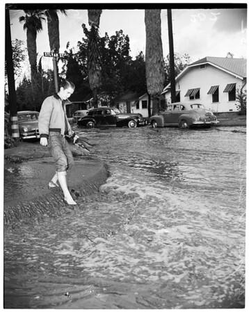 Valley rain Tyrone Avenue and Sylvan Street Van Nuys, 1952