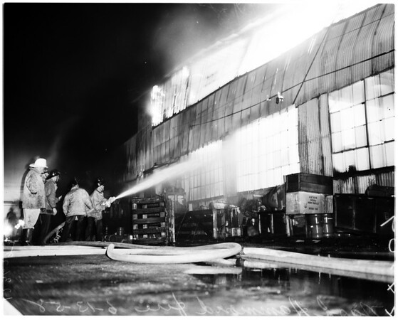 Nash-Hammond fire at 4615 Bandini, 1958