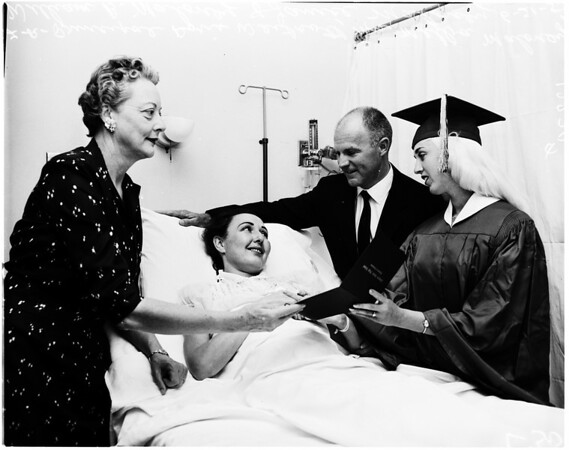 Mother watches daughter graduate from hospital bed, 1958