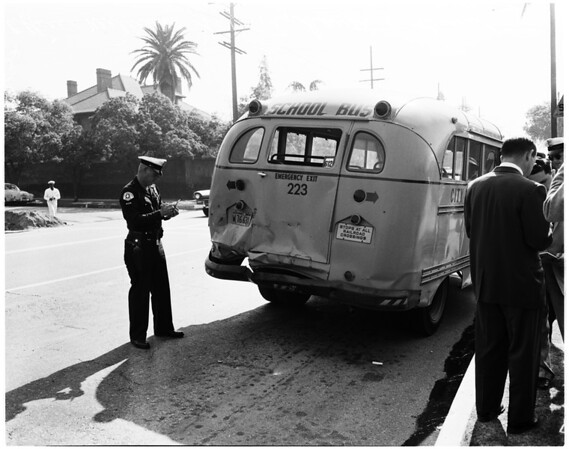 School bus accident at Cimarron and West Adams, 1958