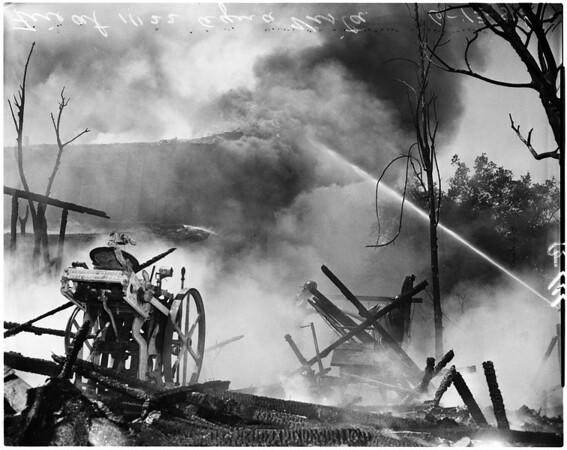 Brush fire at residence at 11122 Aqua Vista Street, 1958
