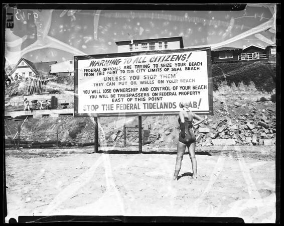Tidelands warning sign at Long Beach, 1952