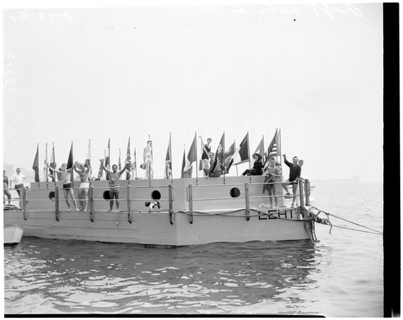 Raft Lehi V towed to Santa Monica, 1960