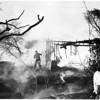 Brush fire at residence at 11122 Aqua Vista Street, 1958