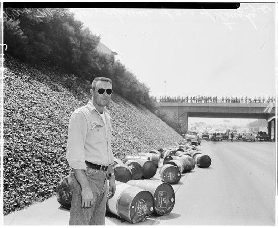 Auto versus truck -- Harbor Freeway at Adams, 1961
