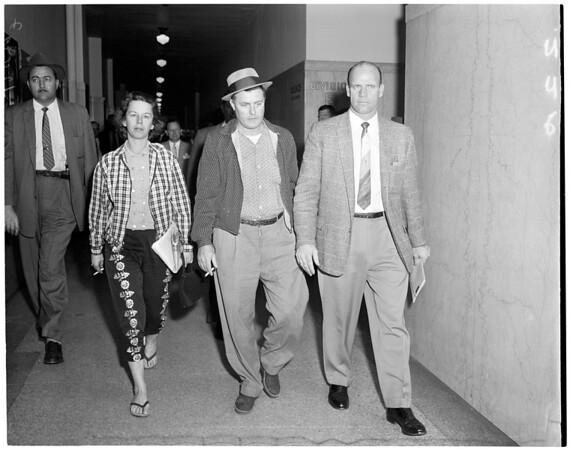 Shotgun slaying suspects arraignment (Kenneth Savoy), 1959