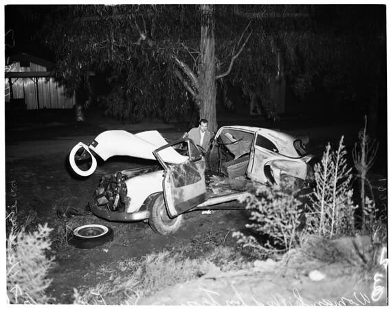 Woman killed by train in San Fernando Valley, 1957