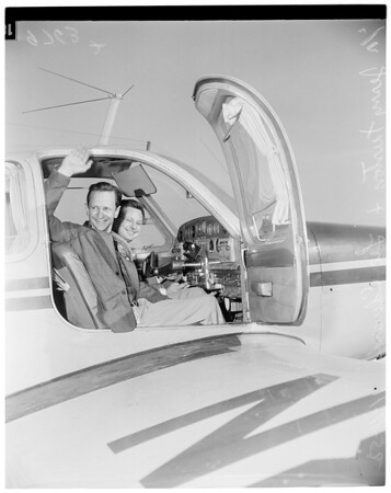 Voter flies to Big Bear (Santa Monica to Big Bear), 1952