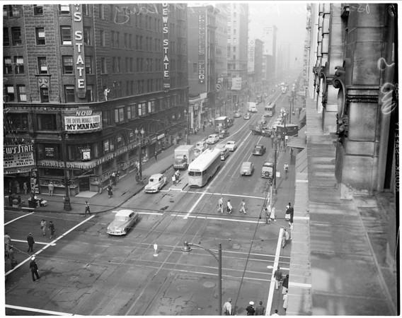 Civil Defense Raid around town, 1952