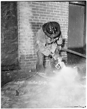 Fire in Pasadena Salvation Army Warehouse, 34 North Delacey Street, 1952