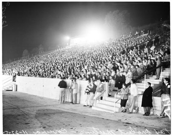 Tax protest meeting at Mt. San Antonio Junior College stadium in Covina, 1957