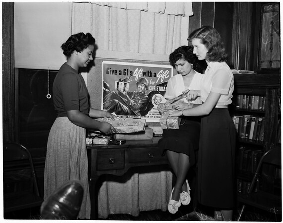 YWCA girls wrapping gift packages (Korea), 1952