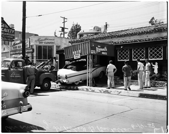 Car into Plymouth House restaurant, 1958