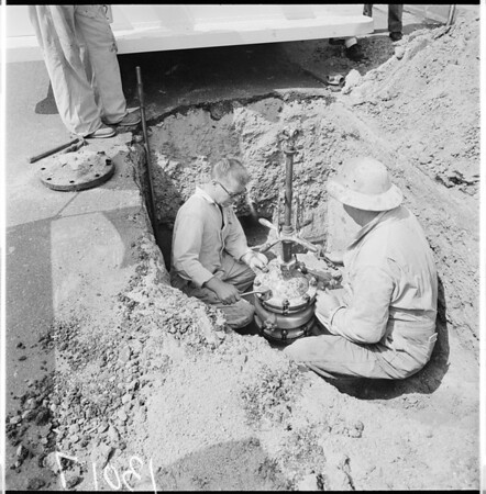 Gas main break -- Pacific Palisades, 1961