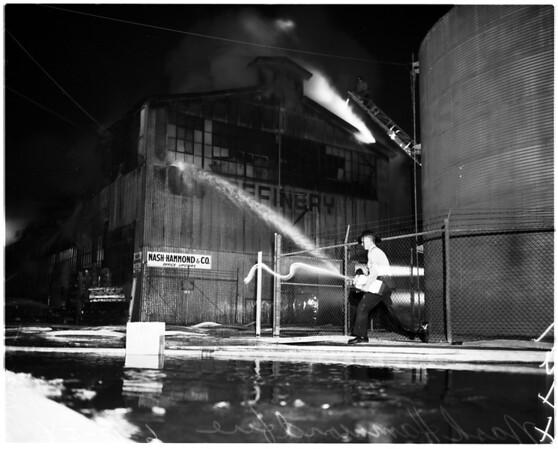 Nash-Hammond fire at 4615 Bandini, 1958