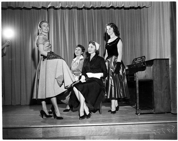 Fashion show at Corvallis High School, 1953