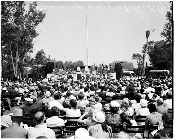 Memorial day at West Los Angeles Veterans Administration center, 1958