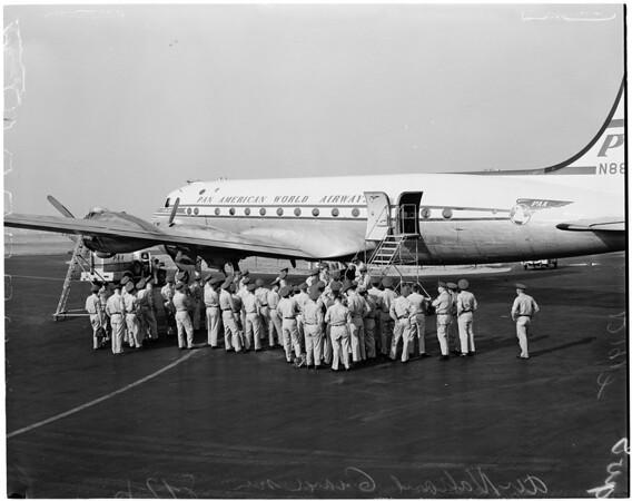 Air National Guardsmen leave via Pan American Airways (PAA) for Boise Camp, 1957