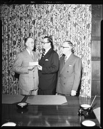 Water and Power bond sale (with check for $22,386,828), 1952
