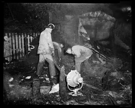 Five kids die in house fire (5704 Jurez Street - Whittier), 1952