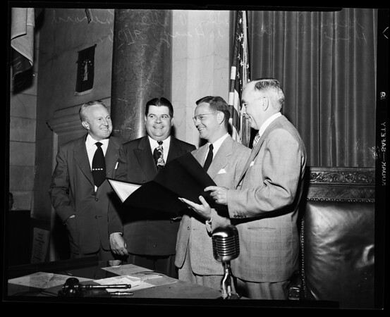 Resolution commending hood (council chambers), 1951