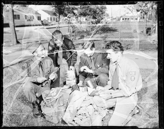Check Scout packs for 36 days of ranch training, 1952