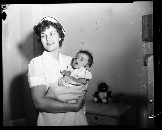 Rodriguez baby flown in from Tucson, Arizona, 1954