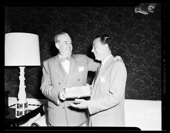 H.A. Kent gets scroll, 1951