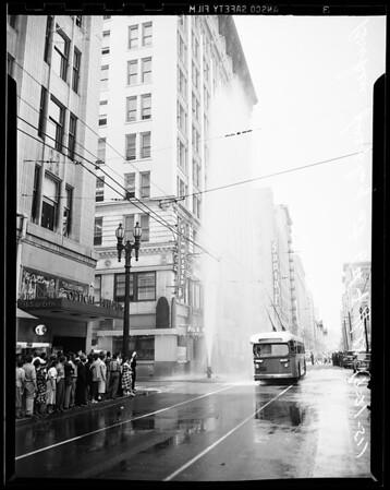 Fireplug sheared off, 6th and Hill, 1951