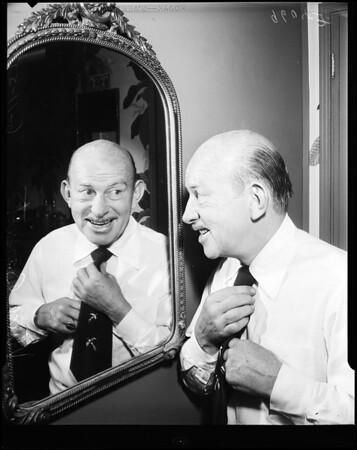 Vince Barnett gets a trimming (beard comes off), 1952