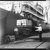 "Vodka unloaded from struck ship ""SS Steel Traveler"" at Pier A, Bert 1, Long Beach Harbor, via court order, 1951"