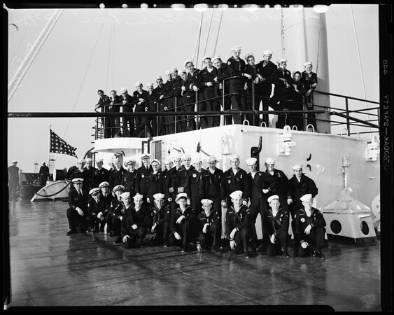 Sea scouts on state training ship, 1954