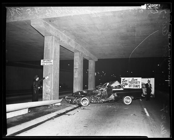 Auto accident Rivergrade Road and San Bernardino Road 3 boys killed, 1957
