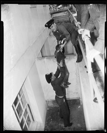 Boy pushed into 10-foot deep basement in Van Nuys, 1954